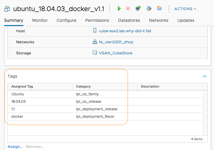 vSphere tags from the new task